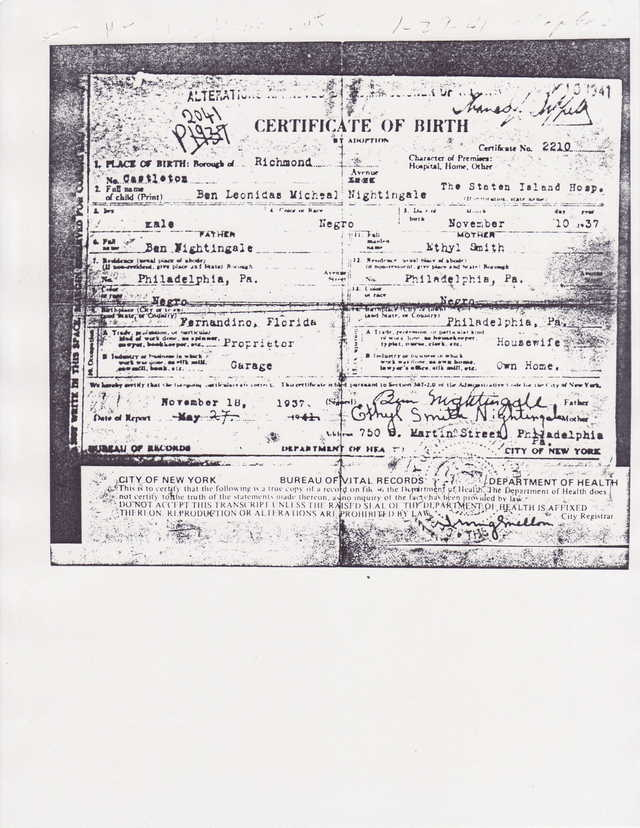 NEGRO BIRTH CERTIFICATE